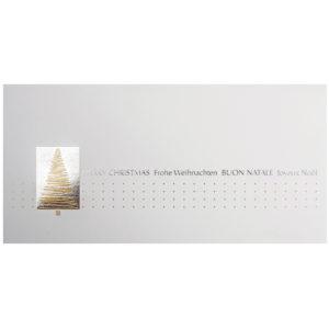 Weihnachtskarte, cremefarbener Karton, Folienprägung silber und gold