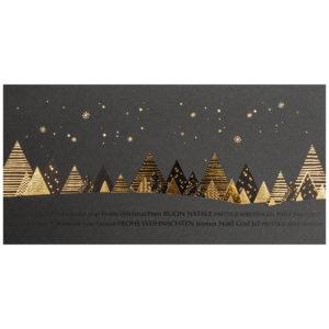 Weihnachtskarte, dunkelgrauer Karton, Folienprägung schwarz und gold