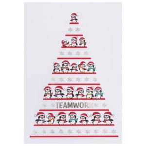 Weihnachtskarte, weißer Karton, mit buntem Druck, Folienprägung silber