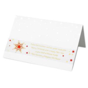 Weihnachtskarte, Banderolenkarte, weißer Karton, Banderole in Transprint mit Folienprägung gold und rot