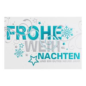 Weihnachtskarte, irisierender, cremefarbender Karton, Folienprägung silber und türkis