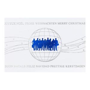 Weihnachtskarte, weißer Karton, Folienprägung silber und matt-blau