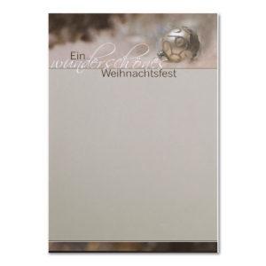 """Weihnachtsbrief, A4- Bogen, grau """"Christbaumkugel"""", Grammatur: 100 g/m²"""