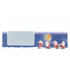 """Briefumschlag mit Fenster, """"Weihnachtsmänner mit Weltkugel"""", Haftklebung"""