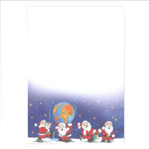 """Weihnachtsbrief, A4- Bogen, """"Weihnachtsmänner mit Weltkugel"""", Grammatur: 100 g/m²"""