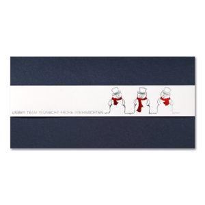 Weihnachtskarte, dunkelblauer Karton, weiße Banderole mit Folienprägung silber und rot