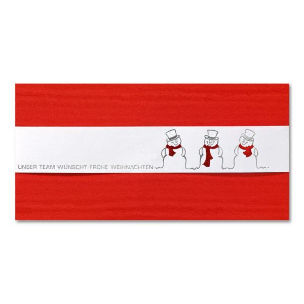 Weihnachtskarte, roter Karton, weiße Banderole mit Folienprägung silber und rot