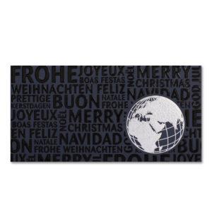 Weihnachtskarte, dunkelblauer Karton, Folienprägung silber und schwarz, Blindprägung