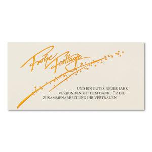 Weihnachtskarte, Geschäftstextkarte, cremefarbener Karton, Folienprägung kupfer