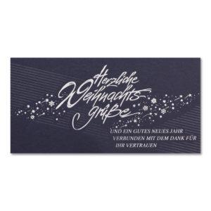 Weihnachtskarte, Geschäftstextkarte, dunkelblauer Karton, Folienprägung silber