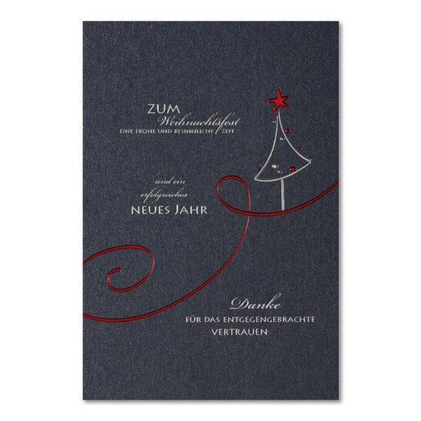 Weihnachtskarte, dunkelgrauer, irisierender Karton, Folienprägung silber und rot