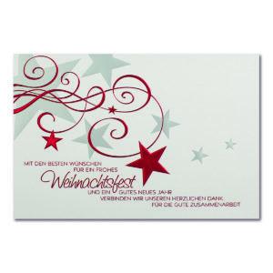 Weihnachtskarte, Geschäftstextkarte, cremefarbener, irisierender Karton, Folienprägung rot und silber matt, Blindprägung