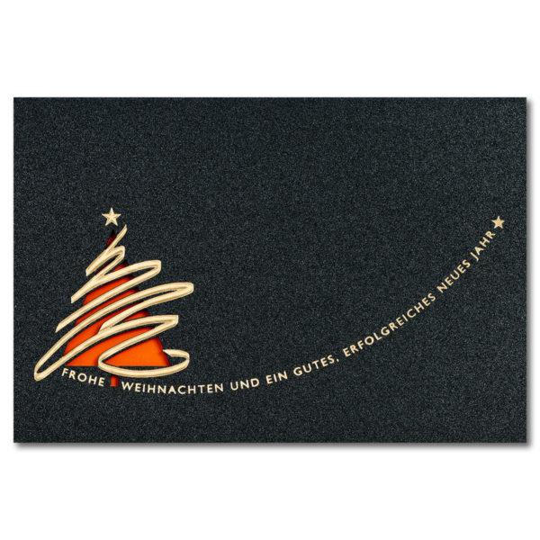 Weihnachtskarte, Laserkarte, irisierender, dunkelgrauer Karton, Folienprägung gold