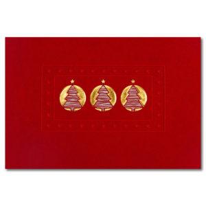 Weihnachtskarte, dunkelroter Karton, Folienprägung silber und gold, Blindprägung