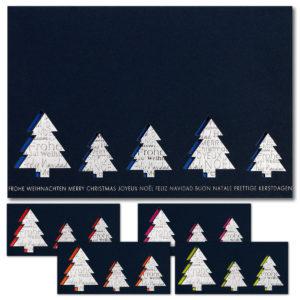 Weihnachtskarte, Laserkarte, dunkelblauer Karton, Folienprägung silber und silber matt