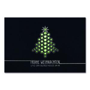 Weihnachtskarte, dunkelblauer Karton, Folienprägung silber und grün, Blindprägung