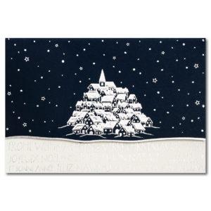 Weihnachtskarte, dunkelblauer Karton, Folienprägung silber, mit Stanzung