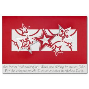 Weihnachtskarte, Geschäftstextkarte,roter Offsetdruck mit Folienprägung silber