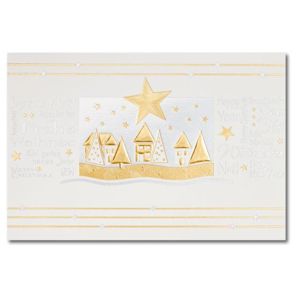 Weihnachtskarte, cremfarbener Karton, Folienprägung silber und gold