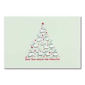 Weihnachtskarte, cremefarbener Karton, Folienprägung silber matt und rot, Blindprägung