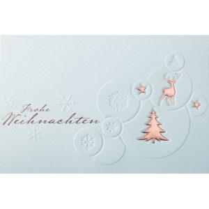 Weihnachtskarte, cremefarbener Karton, Folienprägung kupfer, Blindprägung