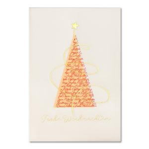 Weihnachtskarte, cremefarbener Karton, Folienprägung gold, Transprint mit Folienprägung gold und rot