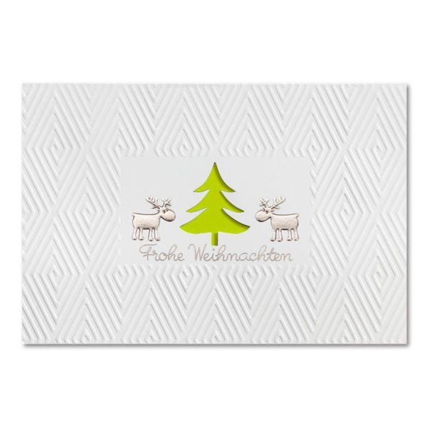 Weihnachtskarte, weißer Karton, Folienprägung silber matt, Blindprägung, mit Stanzung