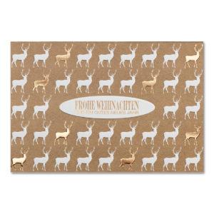 Weihnachtskarte, weißer Karton in Ökodesign, Folienprägung kupfer, Blindprägung