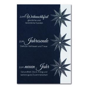 Weihnachtskarte, Geschäftstextkarte, dunkelblauer Karton, Folienprägung silber matt, mit Stanzung