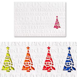 Weihnachtskarte, Laserkarte, cremefarbener Karton, Blindprägung