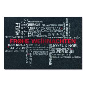 Weihnachtskarte, irisierender, dunkelgrauer Karton, Folienprägung silber und rot