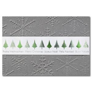 Weihnachtskarte, Banderolenkarte, irisierender, grauer Karton, Blindprägung, weiße Banderole mit Folienprägung silber und grün