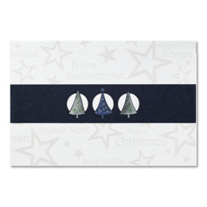Weihnachtskarte, Banderolenkarte, cremefarbener Karton, Folienprägung transparent, dunkelblaue Banderole mit Folienprägung silber und blau, mit Stanzung