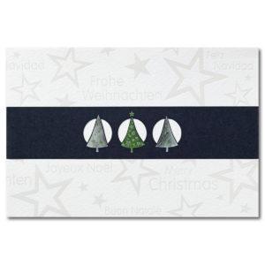 Weihnachtskarte, Banderolenkarte, cremefarbener Karton, Folienprägung transparent, dunkelblaue Banderole mit Folienprägung silber und grün, mit Stanzung