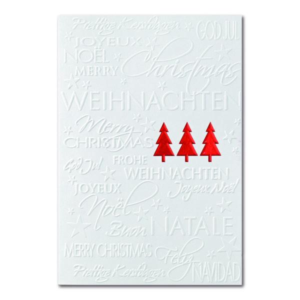 Weihnachtskarte, cremefarbener Karton, Folienprägung rot, Blindprägung
