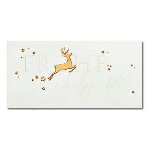 Weihnachtskarte, cremefarbener Karton, Folienprägung gold und transparent