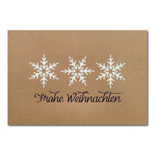 Weihnachtskarte, brauner Ökokarton, Folienprägung weiß und schwarz