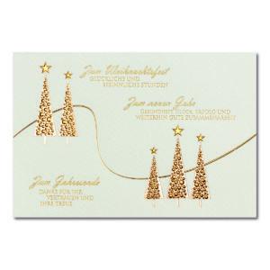 Weihnachtskarte, Geschäftstextkarte, cremefarbener Karton, Folienprägung gold und kupfer, Blindprägung