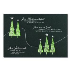 Weihnachtskarte, Geschäftstextkarte, dunkelgrauer Karton, Folienprägung silber und grün, Blindprägung