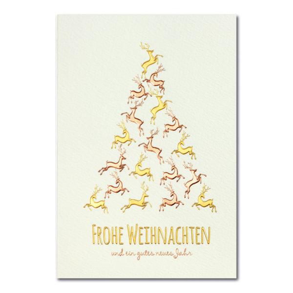 Weihnachtskarte, cremefarbener Karton, Folienprägung gold matt und kupfer matt, Blindprägung