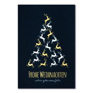 Weihnachtskarte, dunkelblauer Karton, Folienprägung silber matt und gold matt, Blindprägung