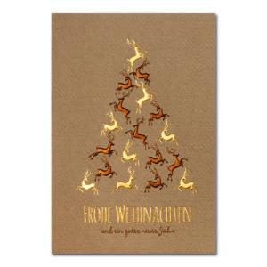 Weihnachtskarte, brauner Ökokarton, Folienprägung gold und braun, Blindprägung