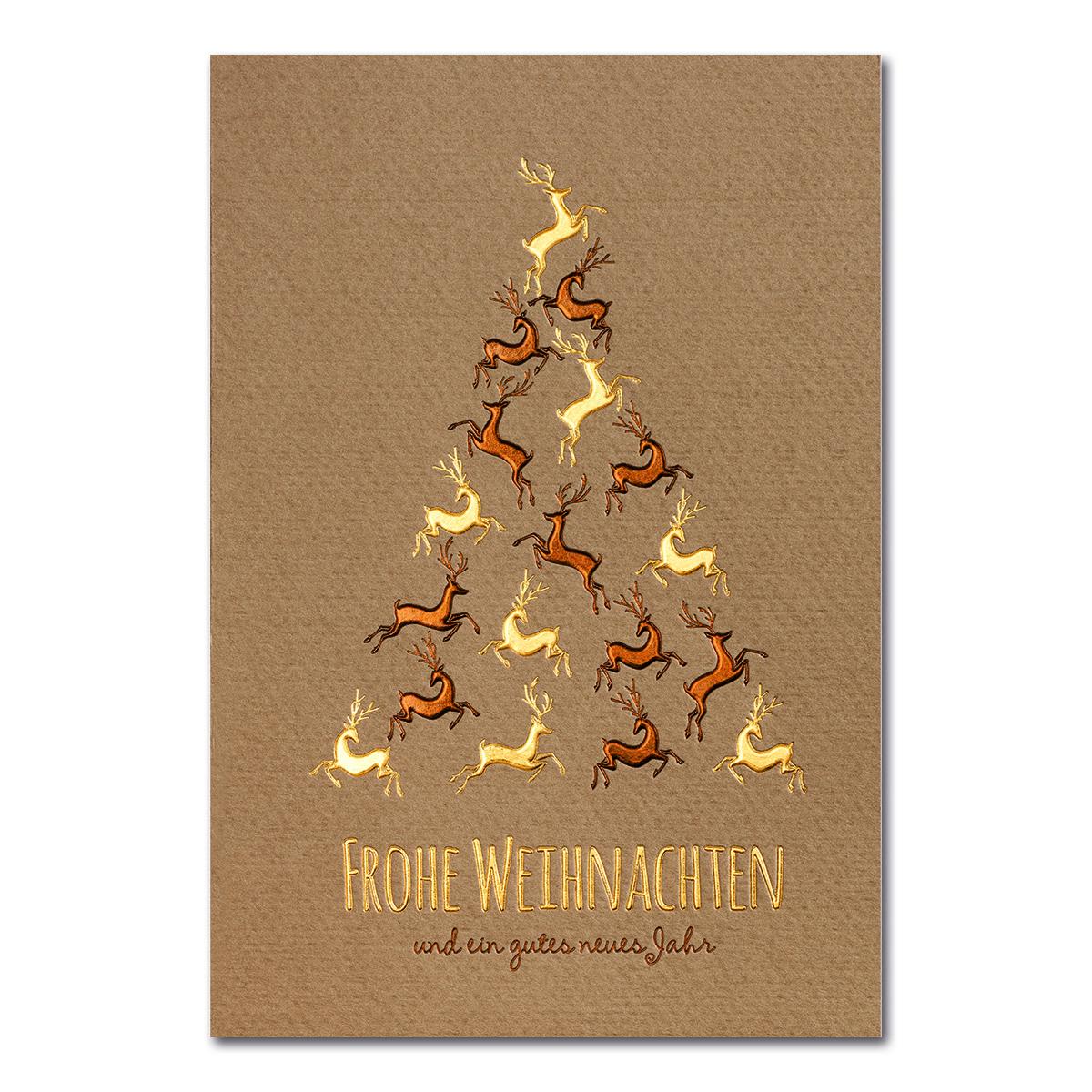 weihnachtskarte brauner kokarton folienpr gung gold und. Black Bedroom Furniture Sets. Home Design Ideas