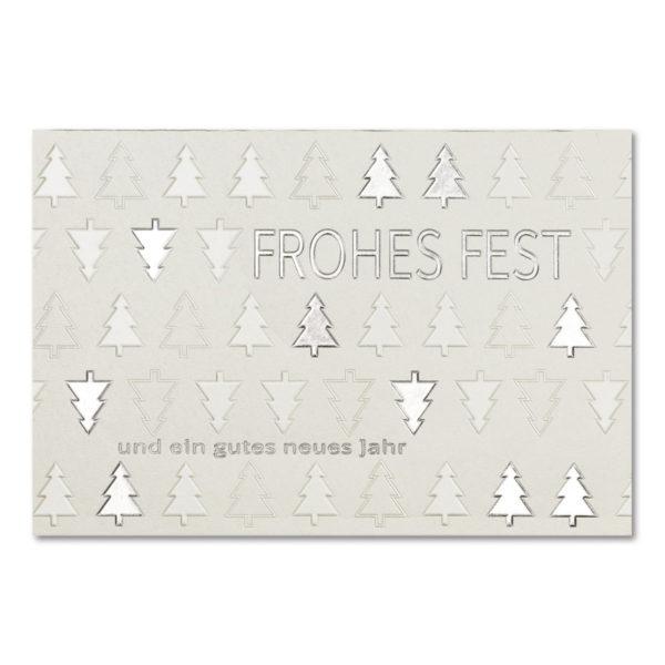 Weihnachtskarte, irisierender, cremefarbener Karton, Folienprägung silber matt und silber, Blindprägung