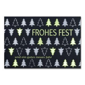 Weihnachtskarte, dunkelblauer Karton, Folienprägung eisblau matt und grün, Blindprägung
