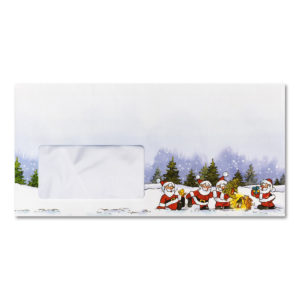 Briefumschlag mit Fenster zu Weihnachtsbrief 96801 und 96802, Weihnachtsmänner im Wald