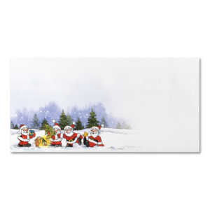 Briefumschlag ohne Fenster zu Weihnachtsbrief 96801 und 96802, Weihnachtsmänner im Wald