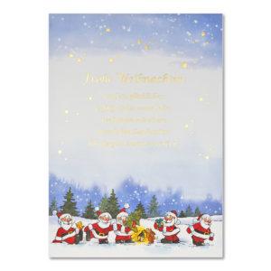 Weihnachtsbrief, A4-Bogen, Weihnachtsmänner im Wald mit Text, Grammatur: 100 g/m²