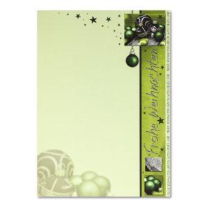 Weihnachtsbrief, grüner A4-Bogen, Christbaumkugeln, Grammatur: 100 g/m²