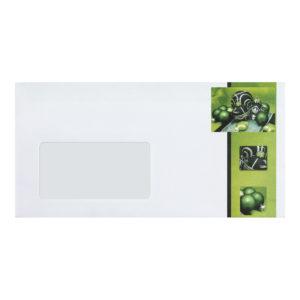 Briefumschlag mit Fenster zu Weihnachtsbrief 96803, Christbaumkugeln